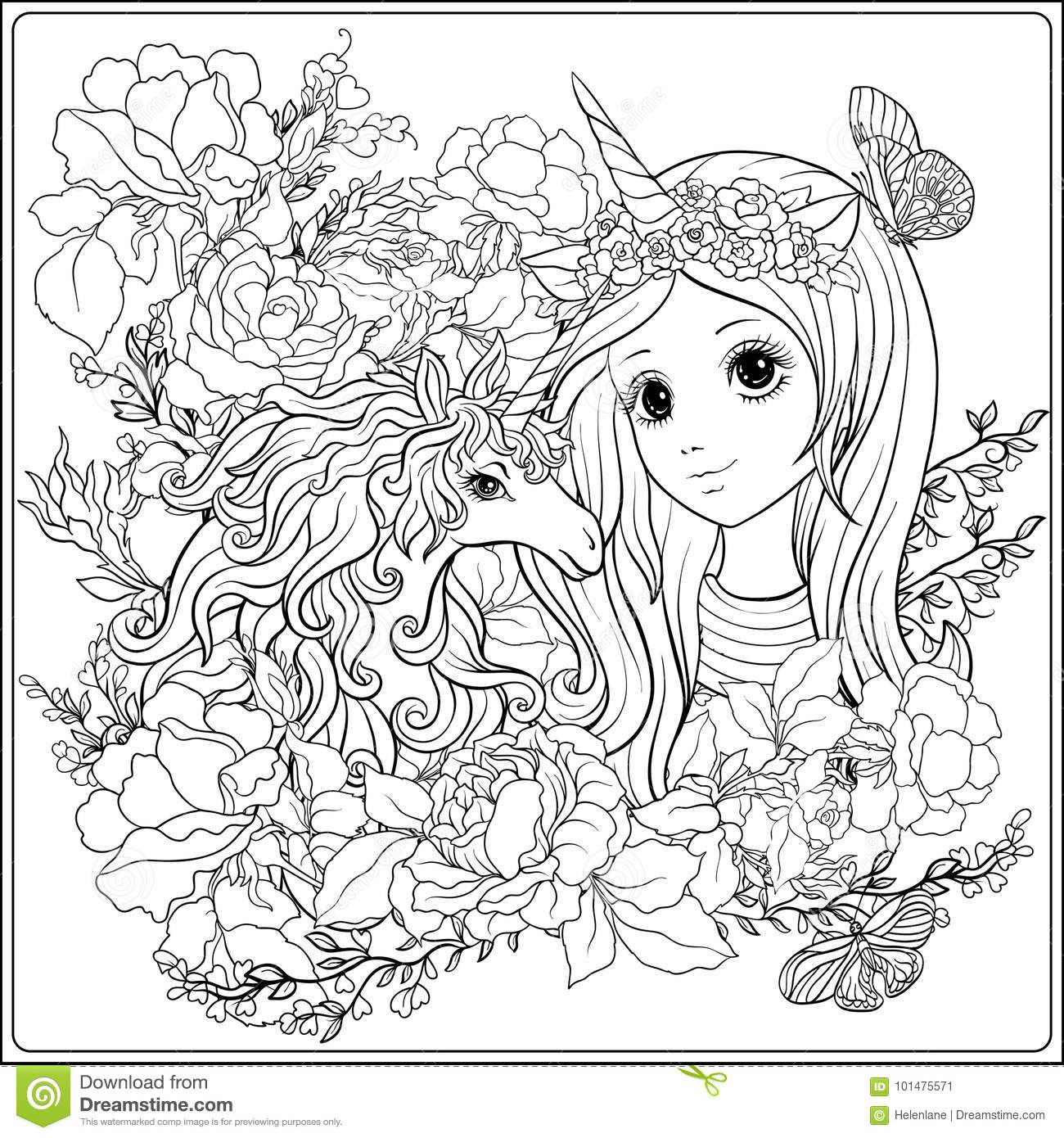 Cute girl and unicorn in roses garden. Outline drawing coloring