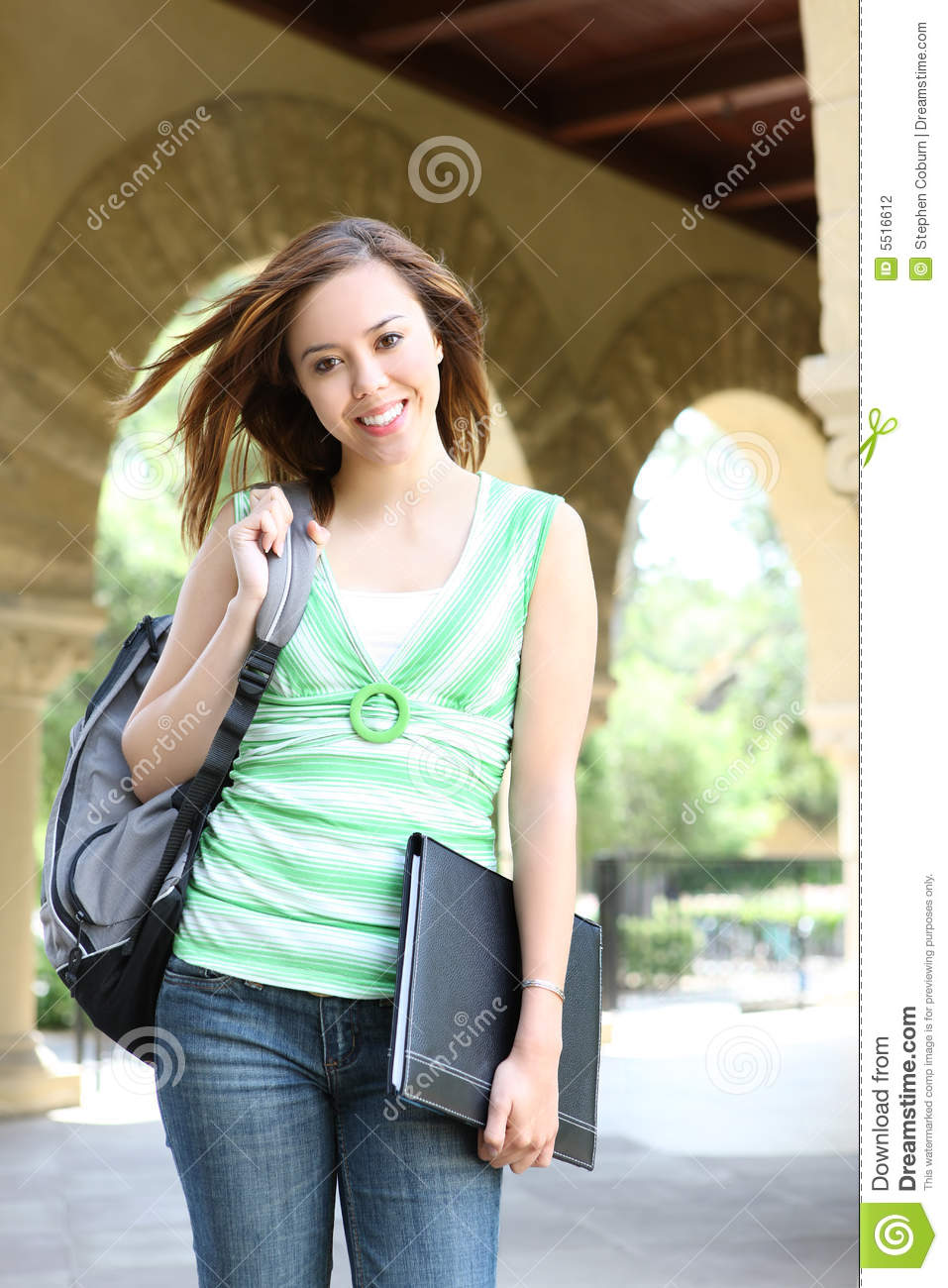 Cute Girl Walking On College Campus Stock Photography -3295