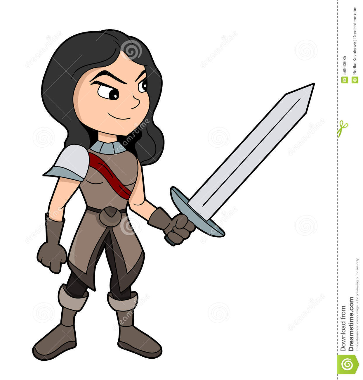 Illustration of pretty girl fighter with sword wearing leather armor ...
