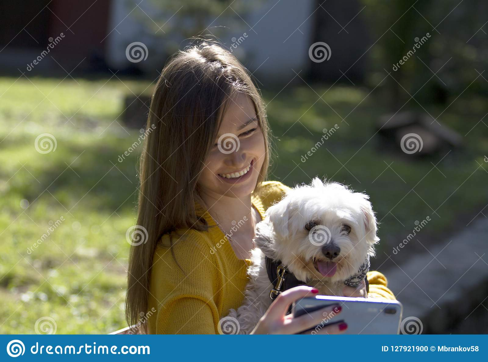 Cute girl and white dog posing.Photos with mobile phone.