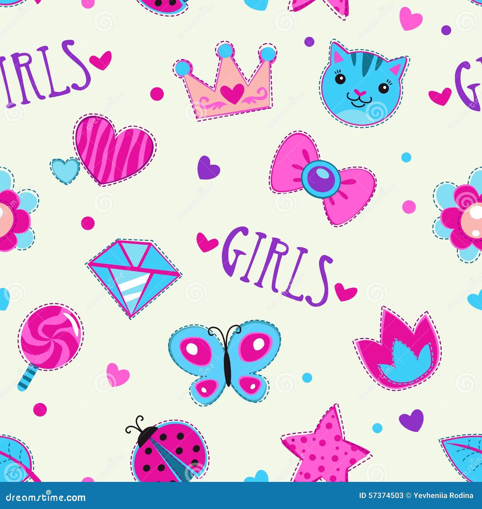 Cute girlish seamless pattern