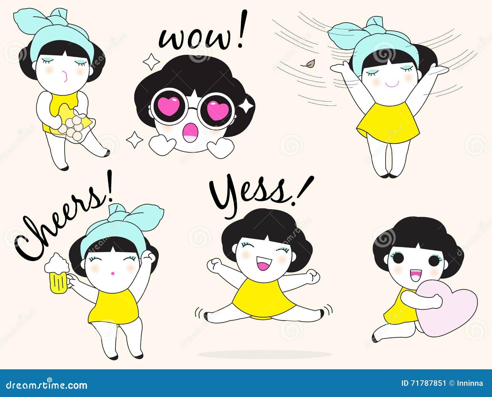 Cute Girls Character Set Illustration Stock Vector Illustration Of