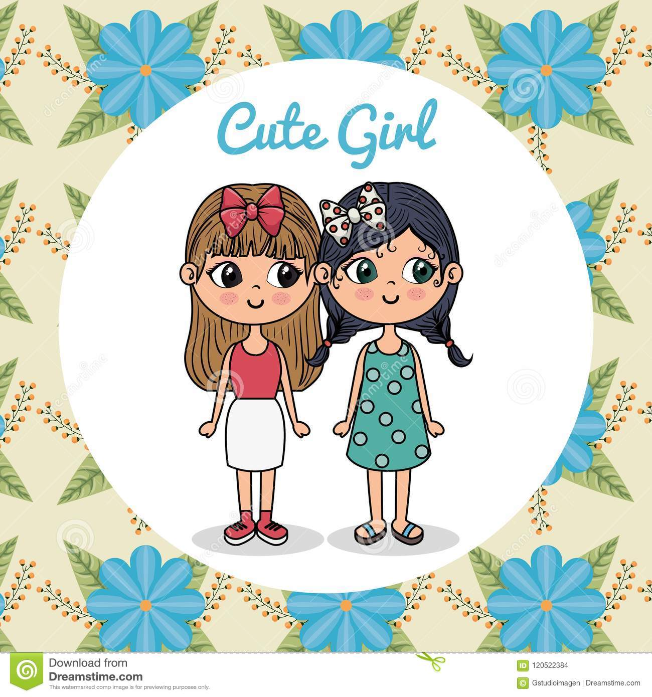 Cute Girls Couple Characters With Floral Frame Stock Vector ...