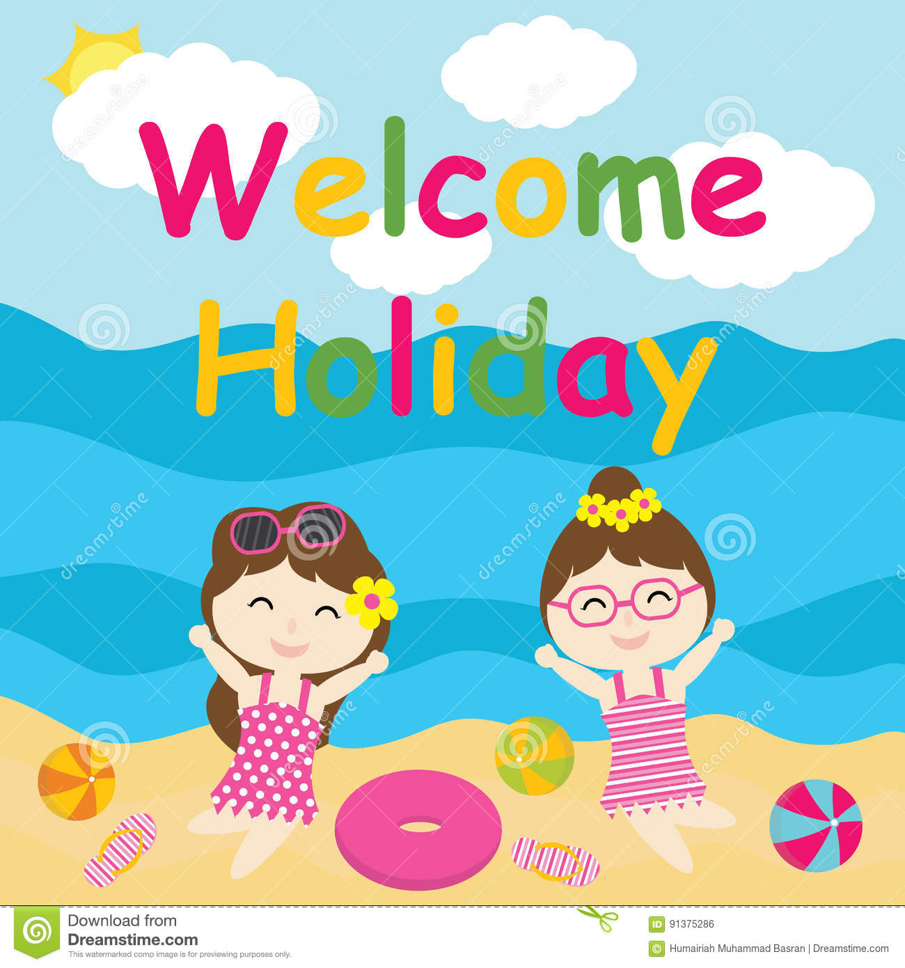 Cute Girls Are Happy On Holiday Cartoon Summer Postcard Wallpaper