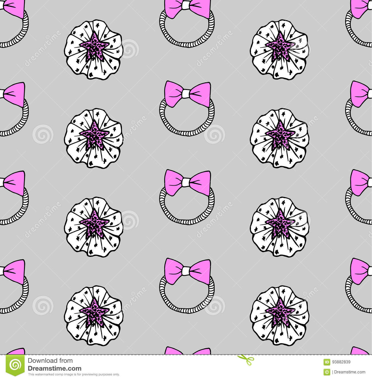 cute girly hand drawn hair accessories vector texture stock vector