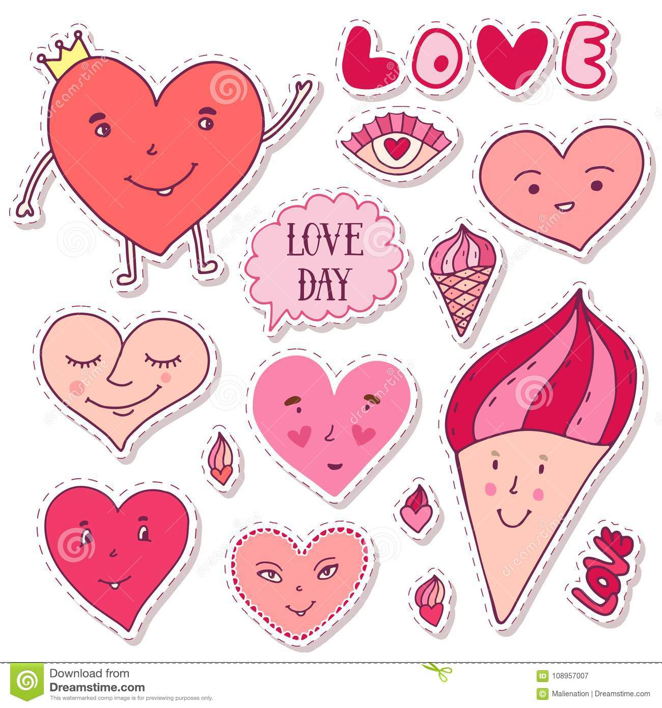 Cute Girly Stickers Cartoon Doodle Hearts Collection