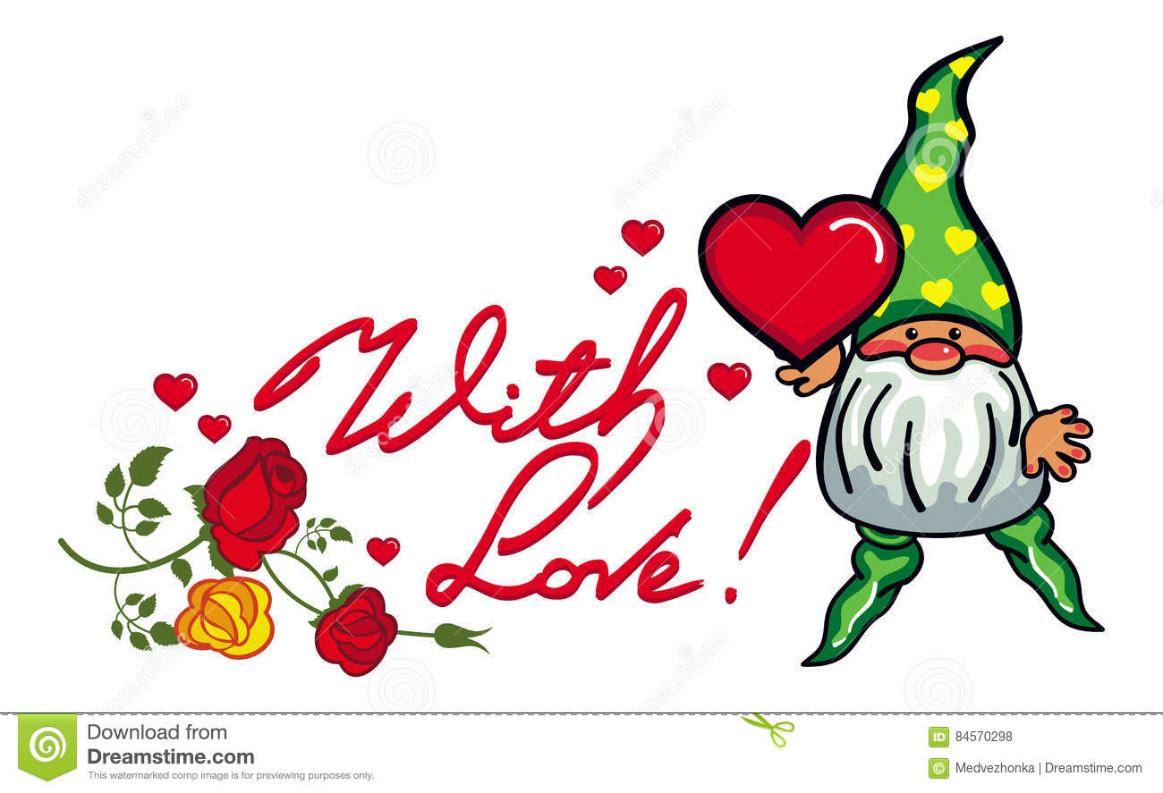 Cute Gnome With Heart And Artistic Written Text With Love Raster