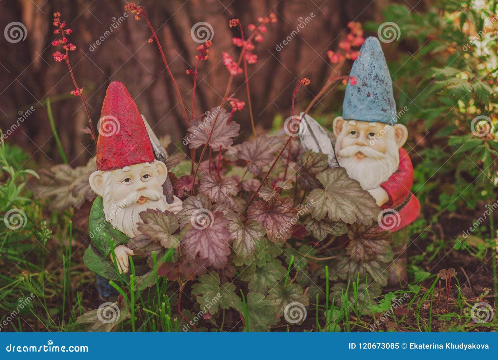 Cute Gnomes Garden Model, Gardener With Scissors Stock Image - Image ...