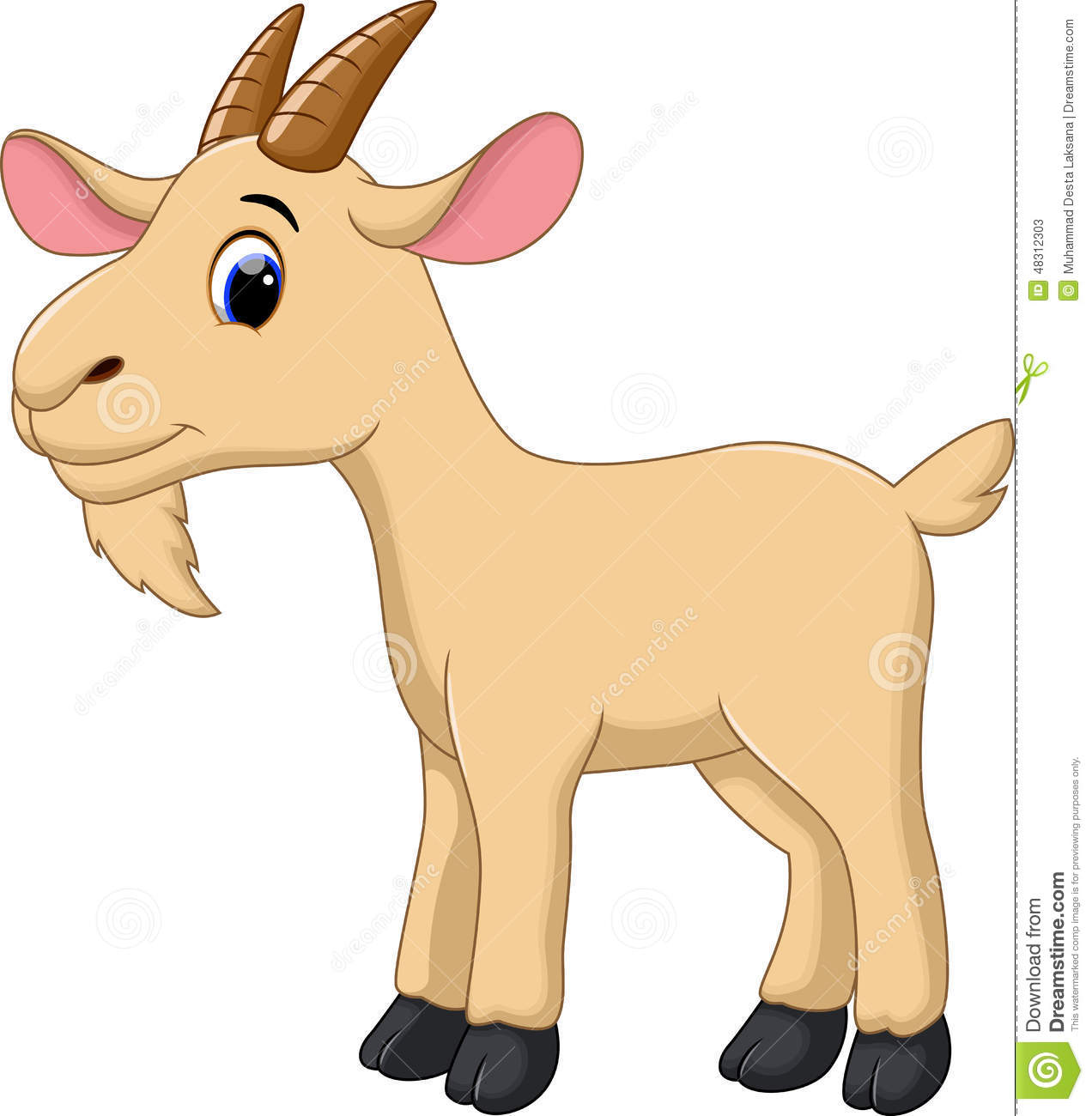 Cute Goat Cartoon Stock Illustration - Image: 48312303