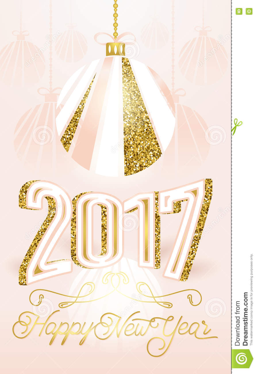 cute golden 2017 happy new year greeting card on pink background