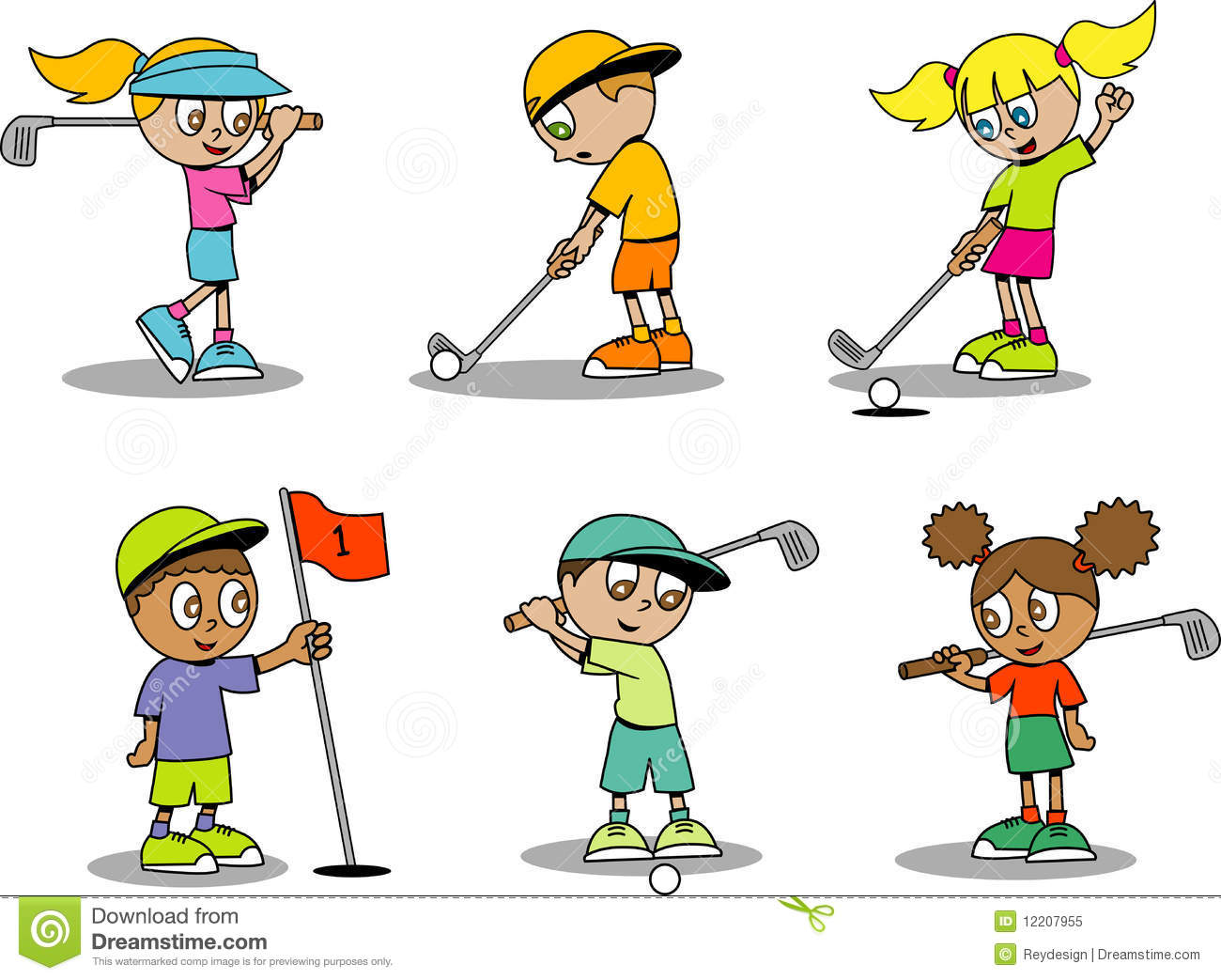 Cute Golf Kids Royalty Free Stock Photo - Image: 12207955