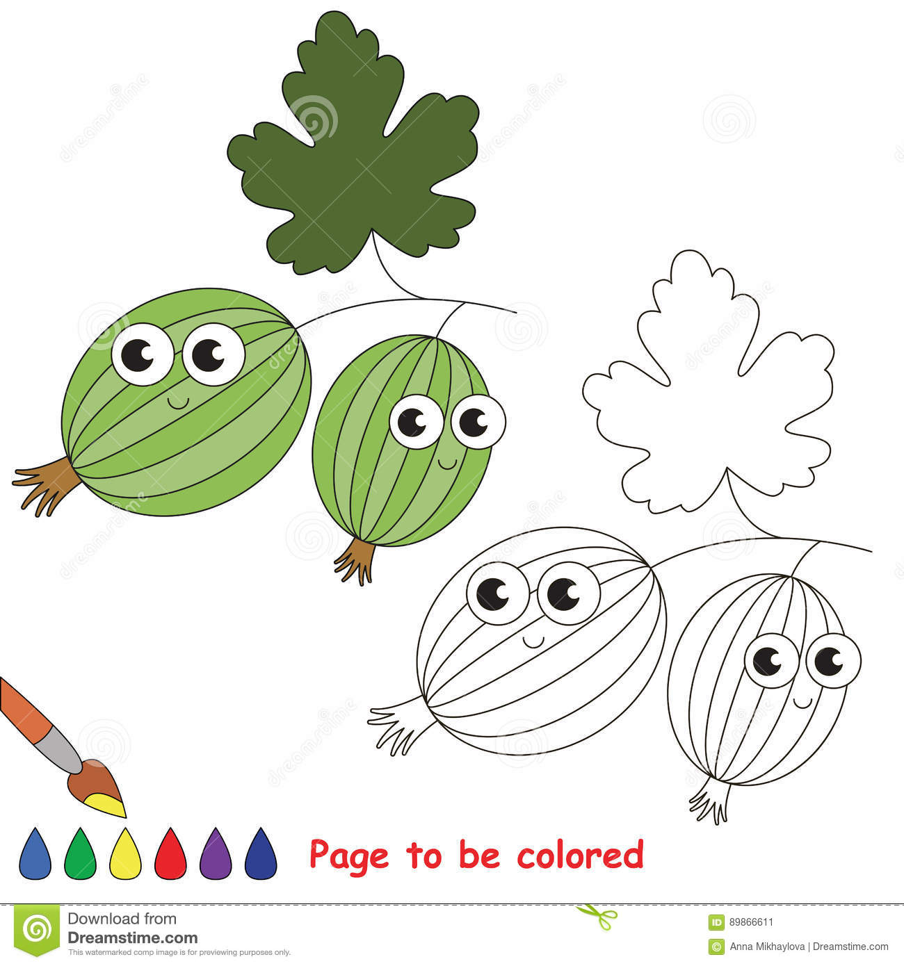 Cute Gooseberry Cartoon. Page To Be Colored. Stock Vector ...