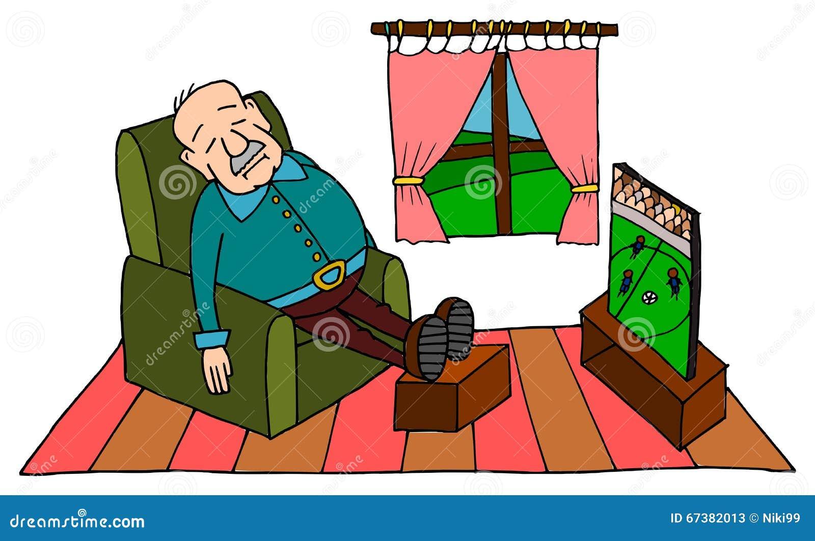 Senior Man Sleeping In Armchair Royalty Free Stock Photo