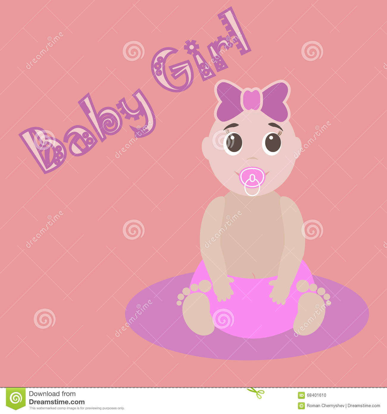 Cute Graphic For Baby Girl Baby Girlnewborn Lovely Greeting Card