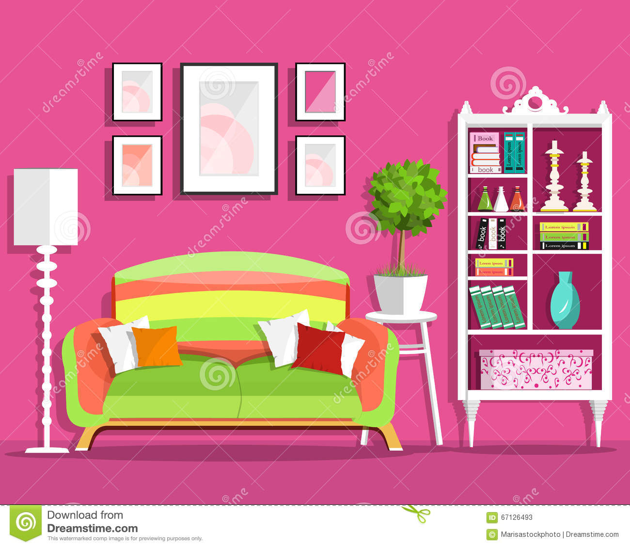 Cute Graphic Living Room Interior Design With Furniture