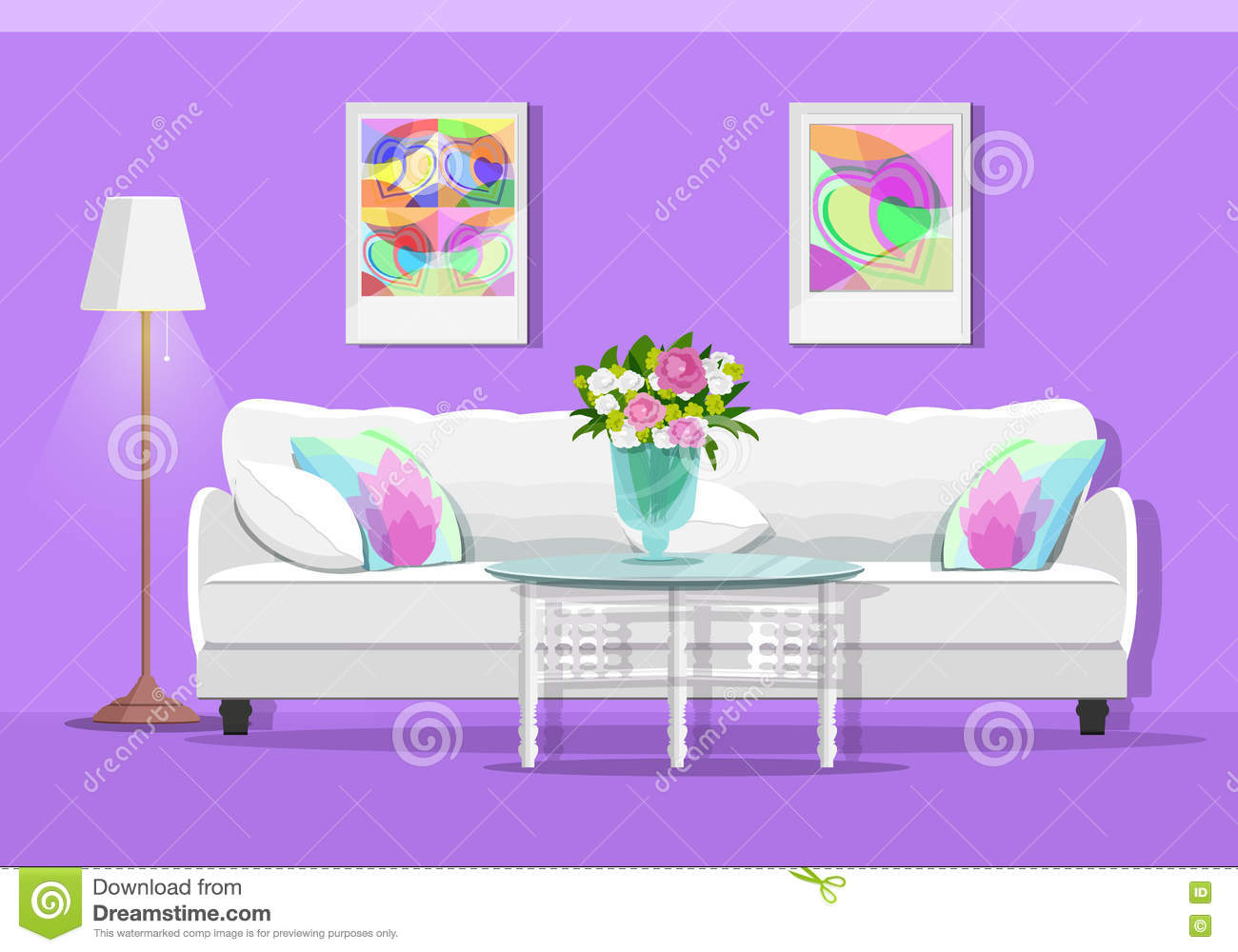 Soft Sofa For Living Room Icon Cartoon Style Cartoon