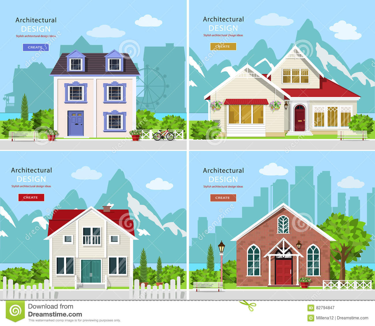 Cute graphic private houses with city landscape and stylish houses with rocky mountains backdrop.