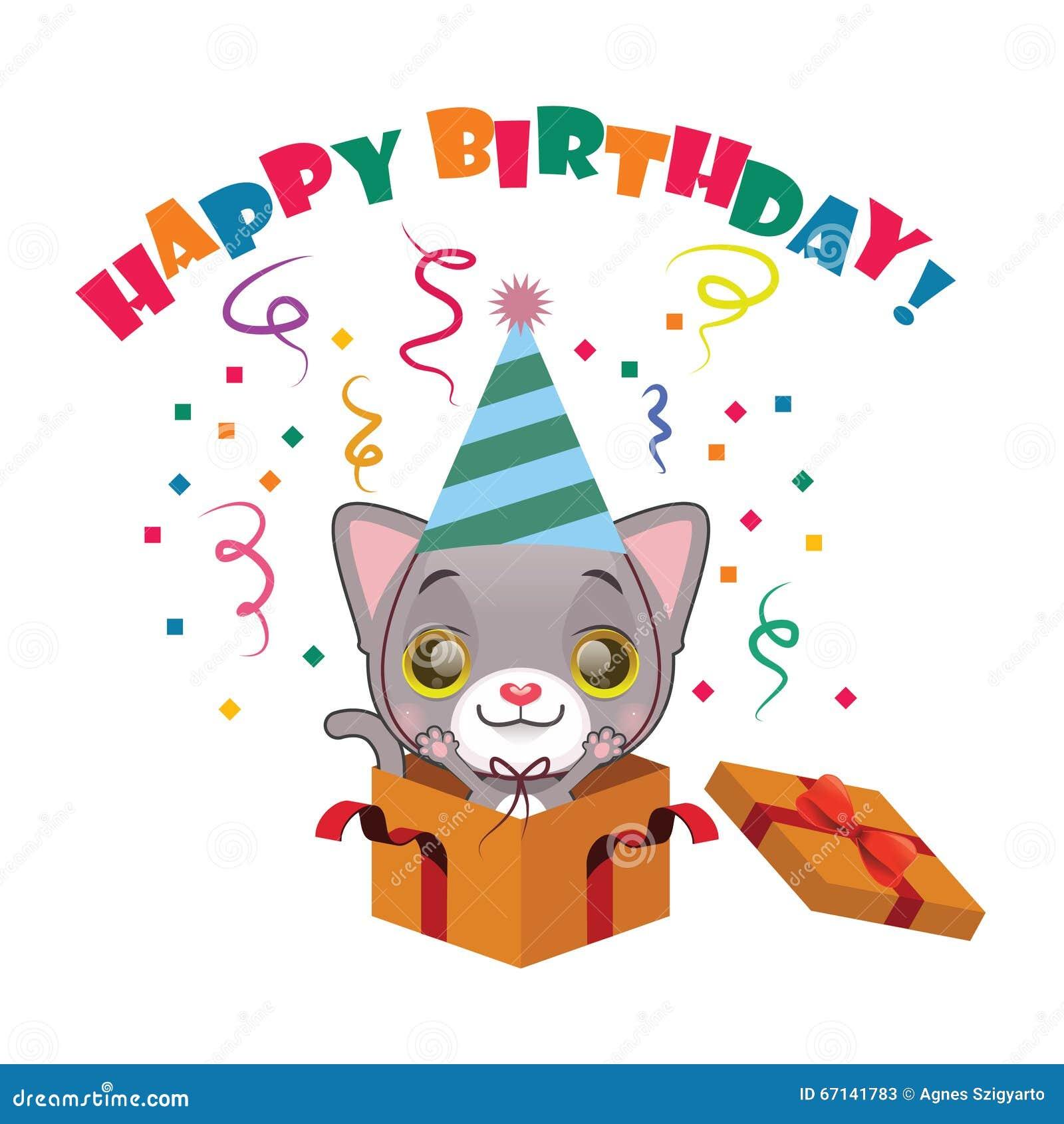 cute gray kitten with happy birthday sign stock vector
