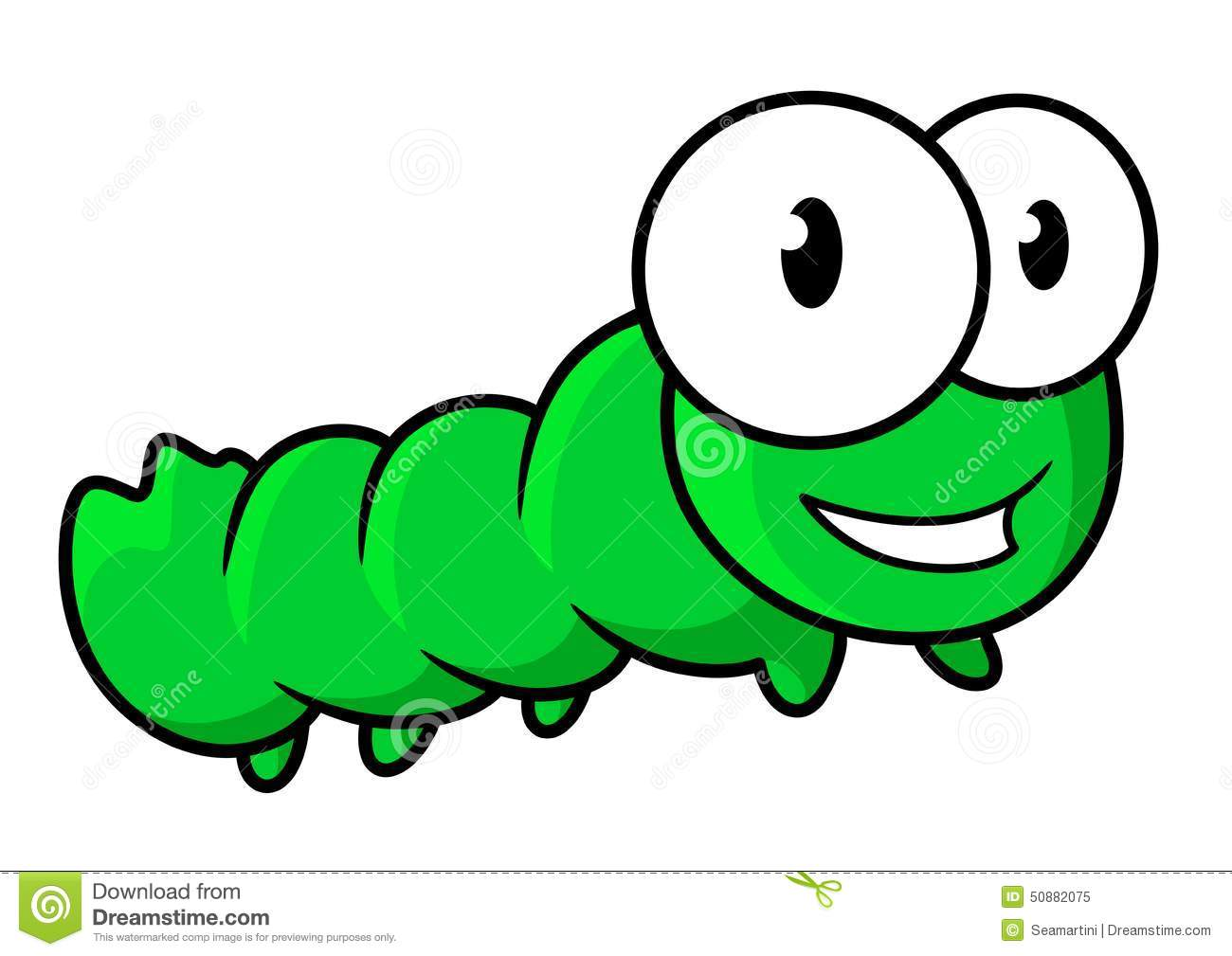 A Cartoon Character That Is Green : Cute green caterpillar insect cartoon character stock
