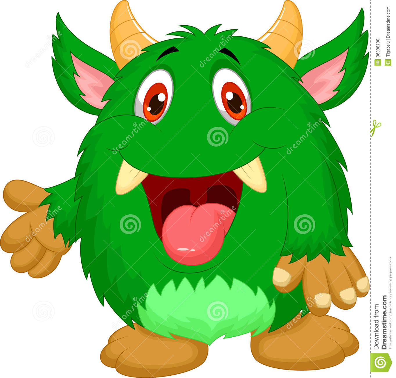 Cute Green Monster Cartoon Stock Photo - Image: 36398790