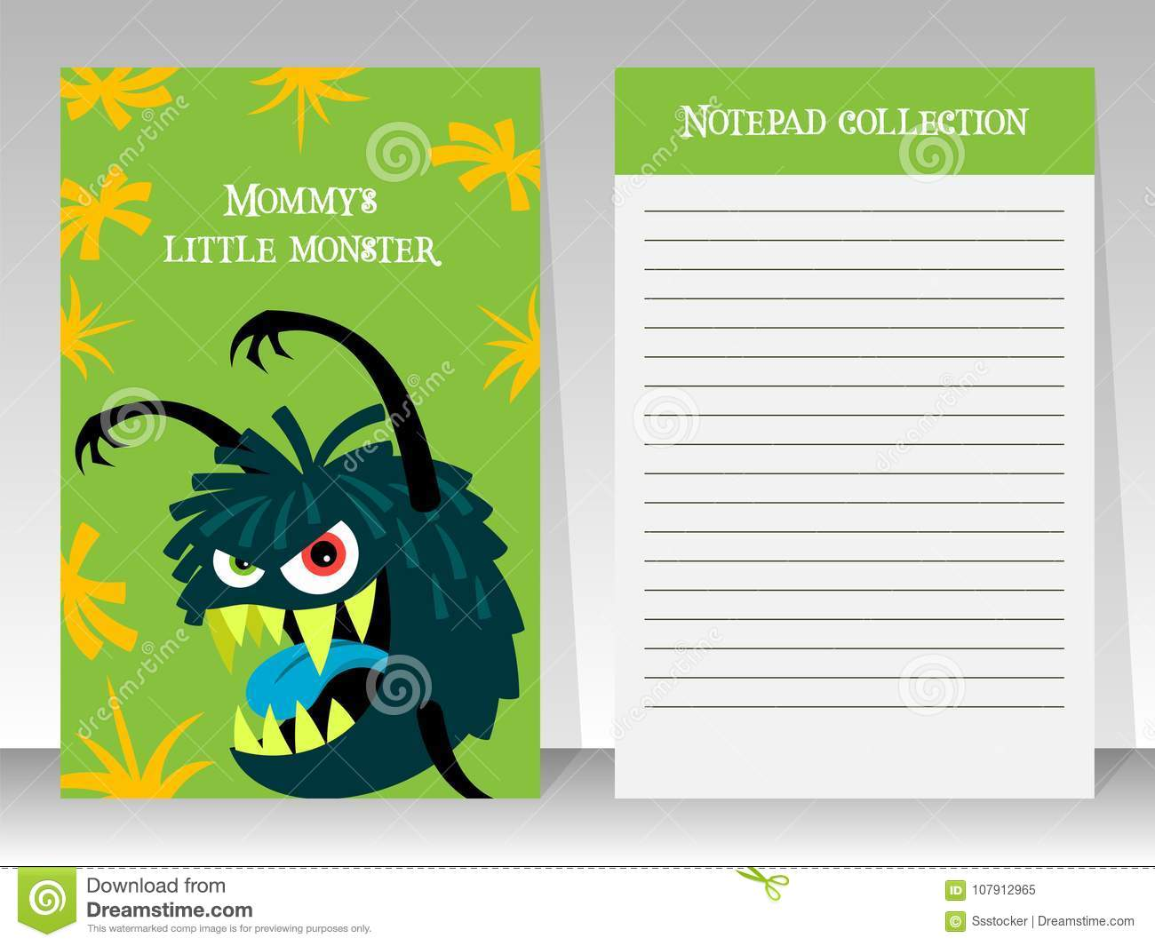 cute green notebook template with monster stock vector