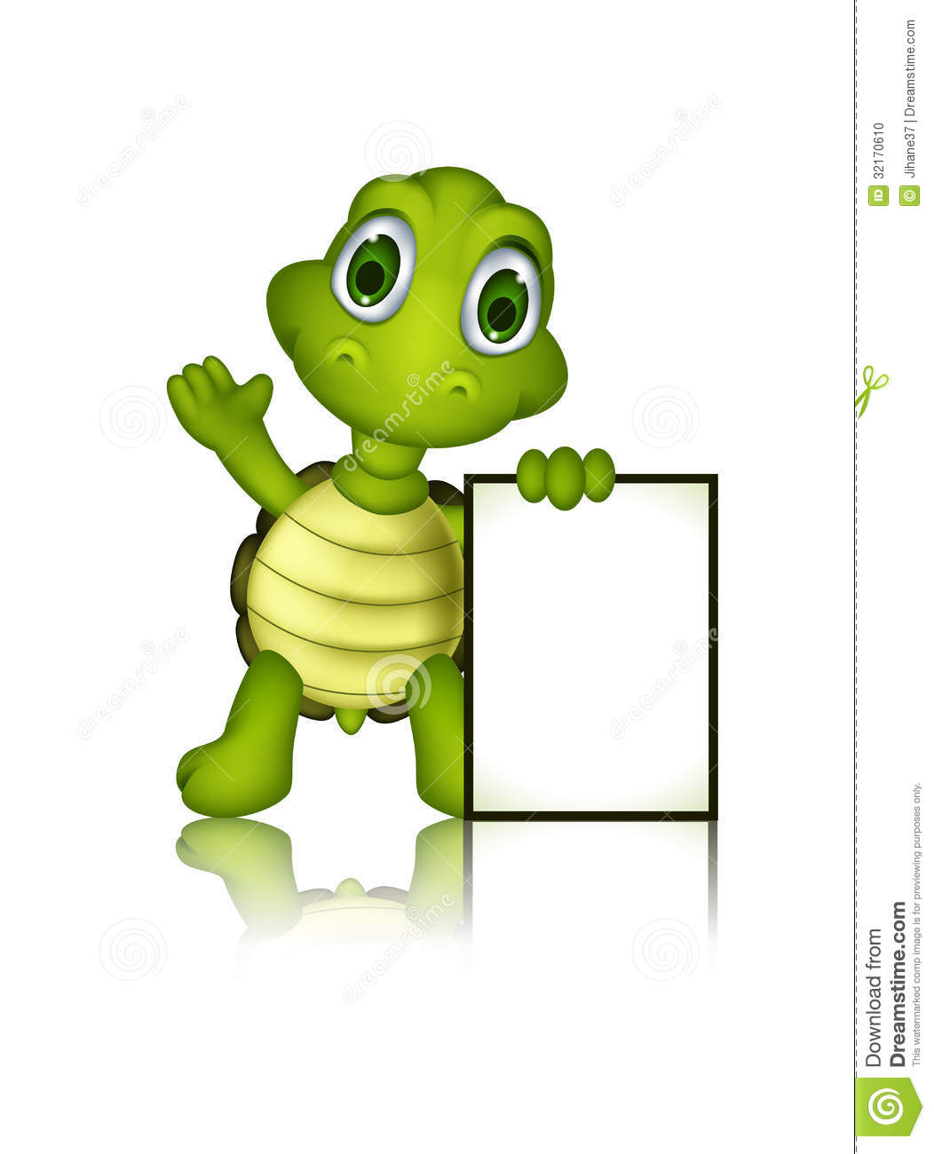 Cute Green Turtle Cartoon With Blank Sign Stock Photo