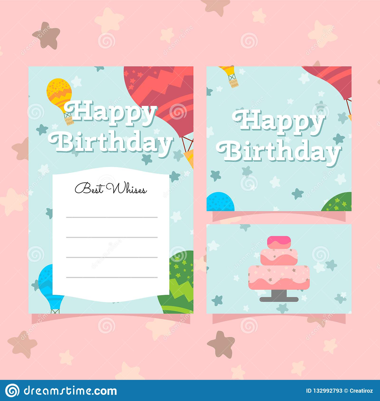 Cute Greeting Birthday Card Invitation Templates Vector Illustration For Childern Girls