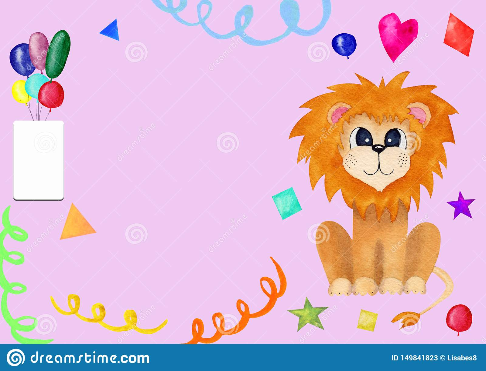 Cute Greeting Card For Kids With Lion Birthday Invitation