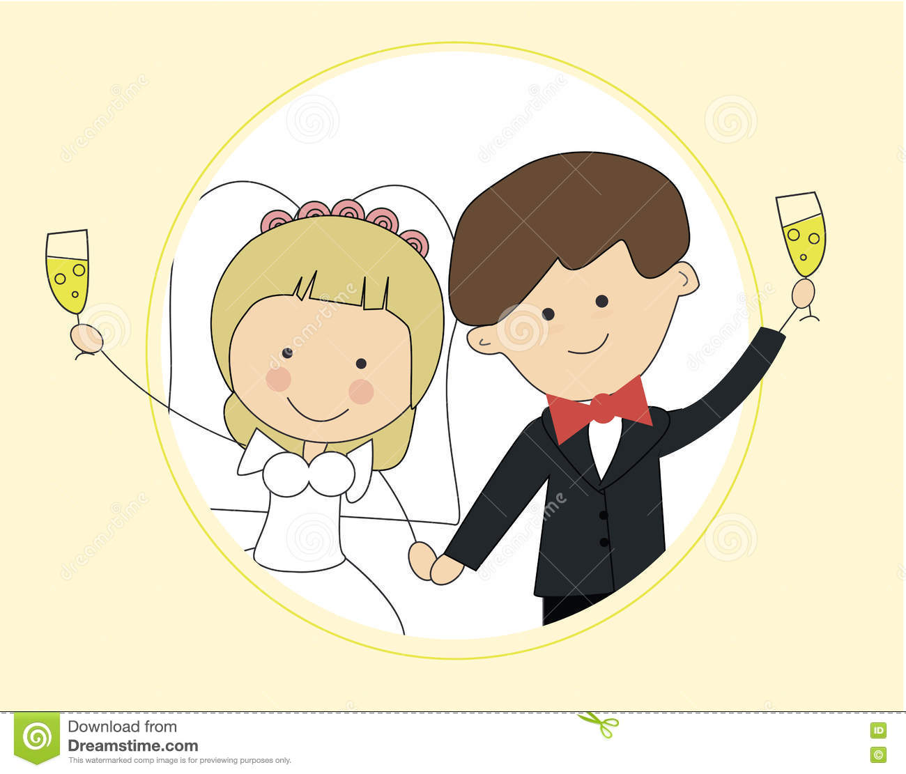 download cute groom and bride couple wedding invitation design template vector card save the date
