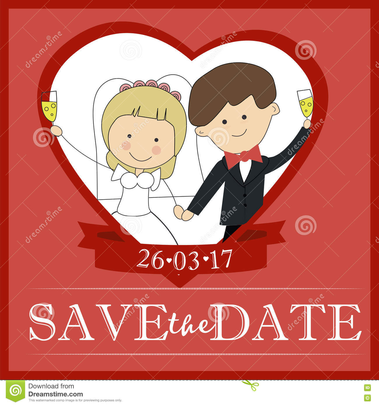 Cute Groom And Bride Couple Wedding Invitation Design Template ...