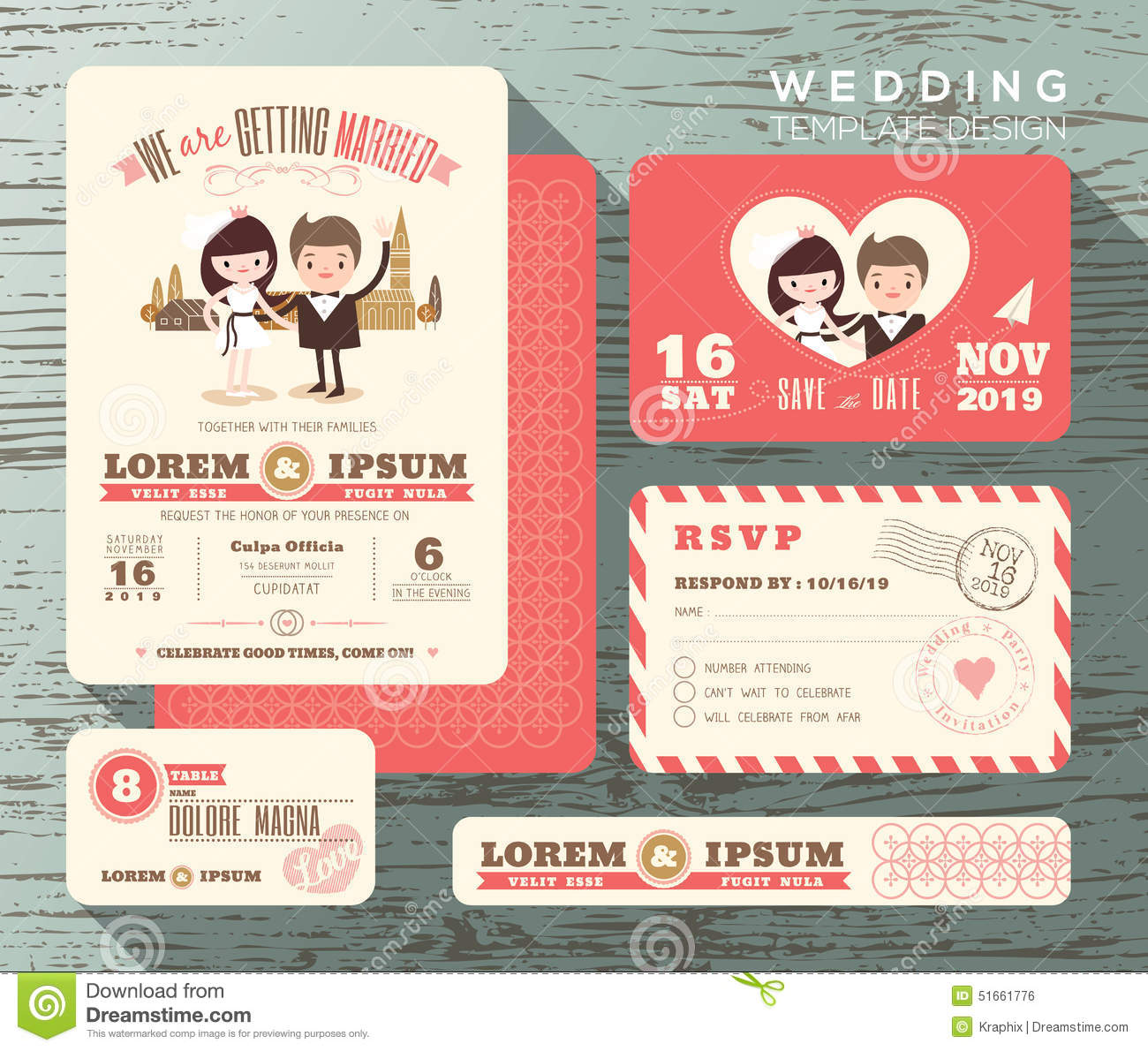 Cute groom and bride couple wedding invitation set design template cute groom and bride couple wedding invitation set design template stopboris Image collections