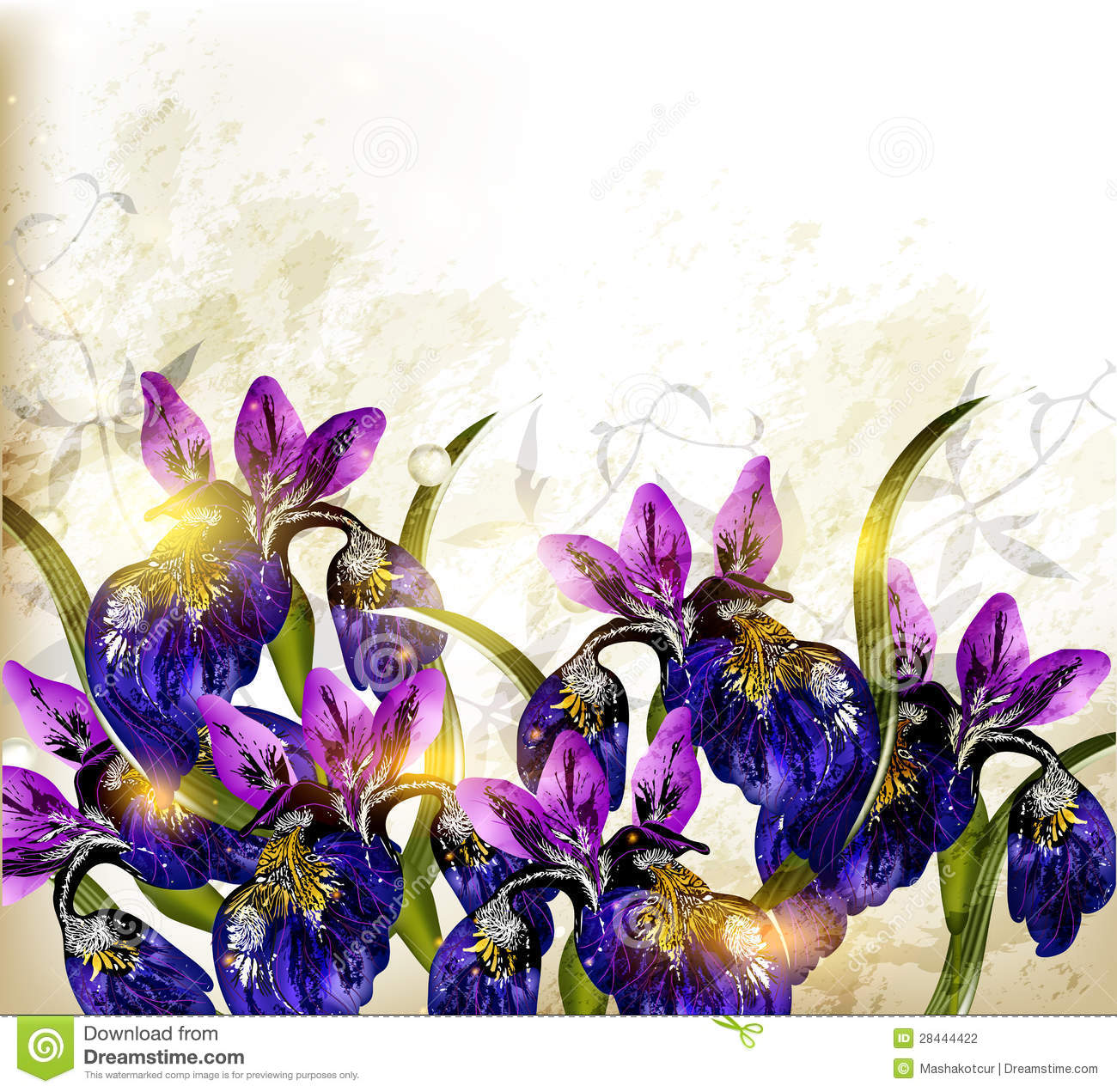 Cute Grunge Background With Flowers Stock Vector ...