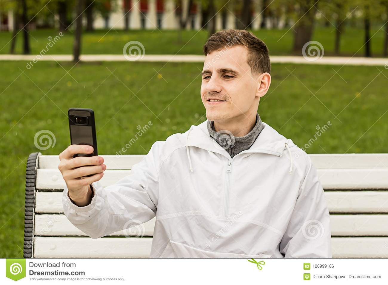 Cute Guy Doing Selfie On Phone Picture Of Himself Stock Photo Image Of Mobile Friends 120999186