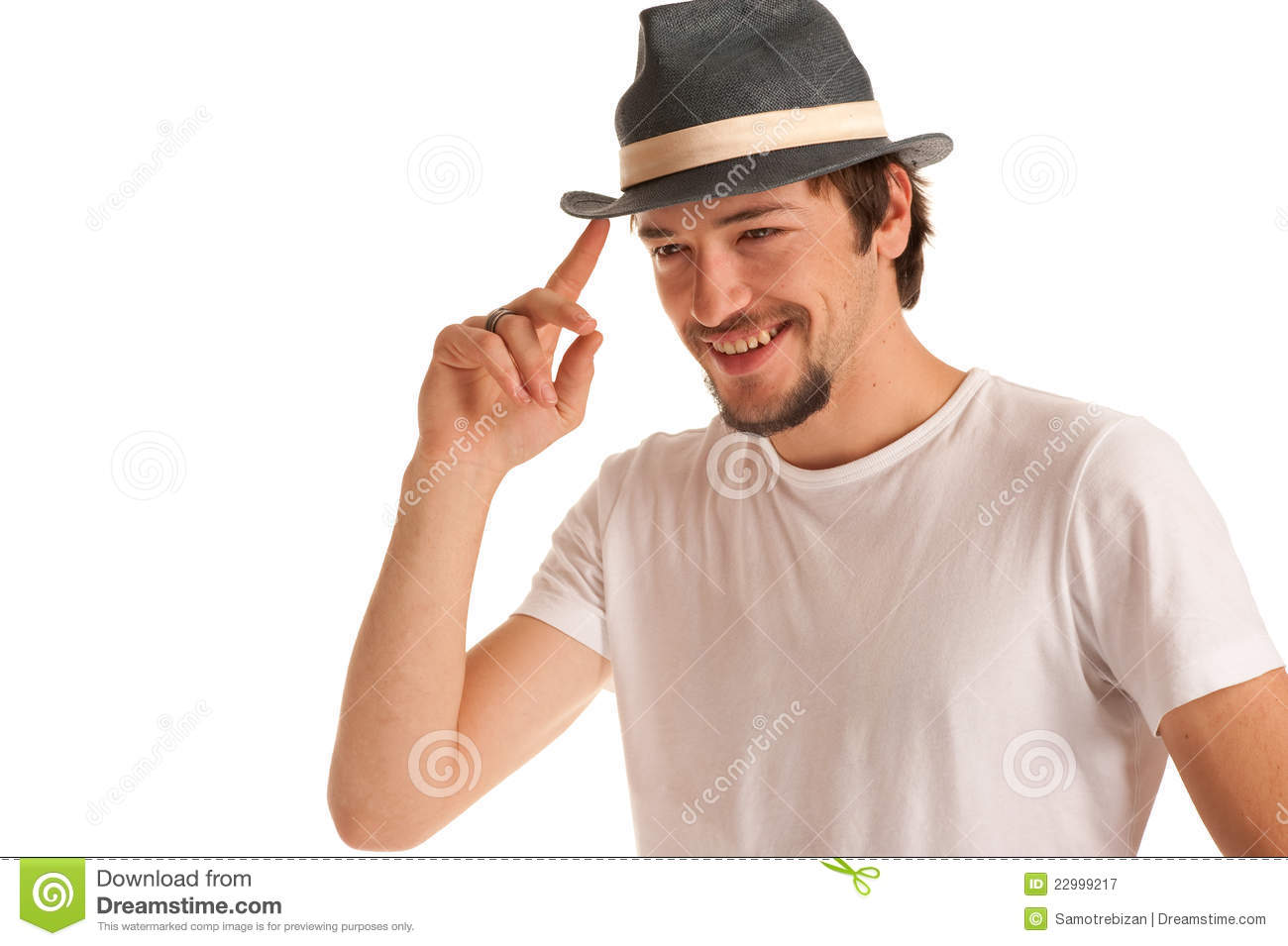 Cute Guy With A Hat On A Head Stock Image - Image of happy b6ad94a6b58