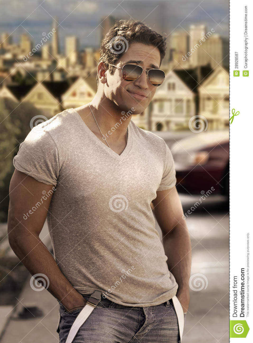 Cute Guy Sunglasses Attractive Stylish Young Model