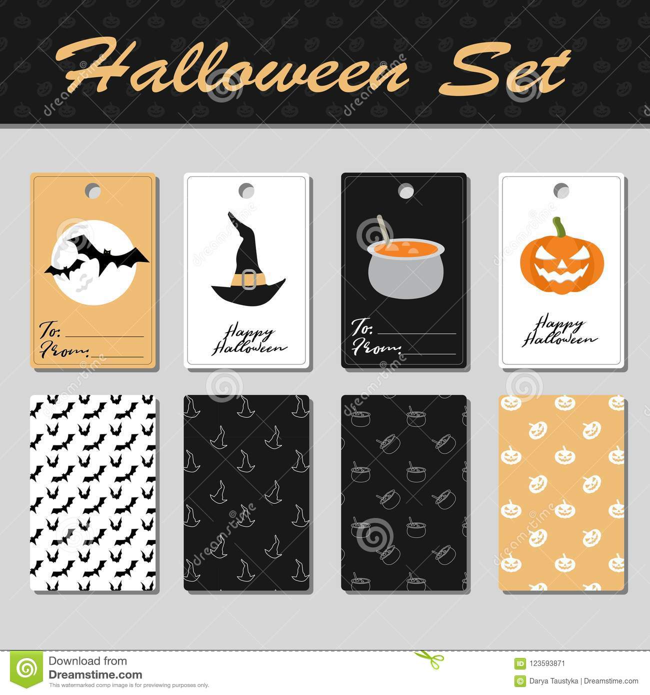 download cute halloween cards stock vector illustration of fairytale 123593871