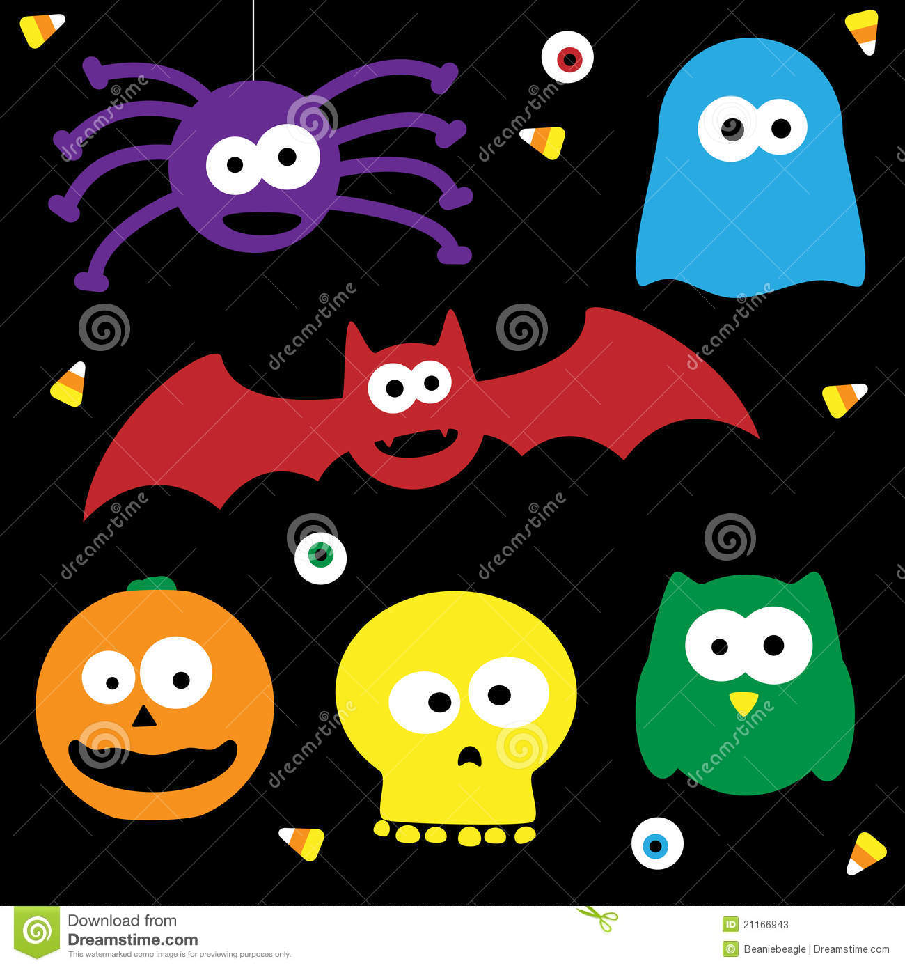Cute Halloween Characters stock vector. Illustration of hallween ...