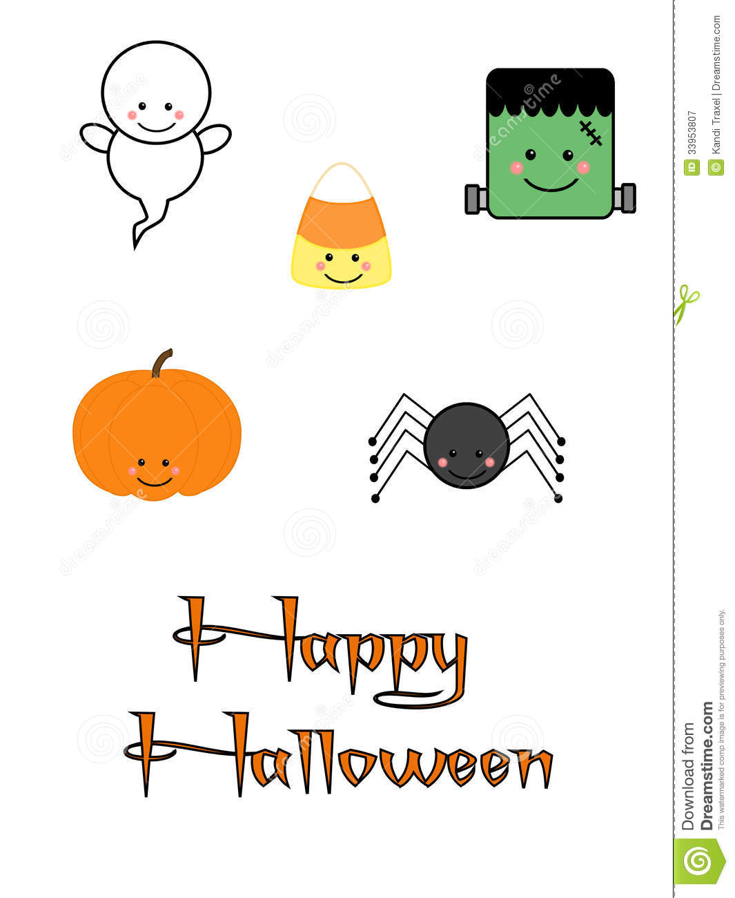Cute halloween characters stock image illustration of for More clipart