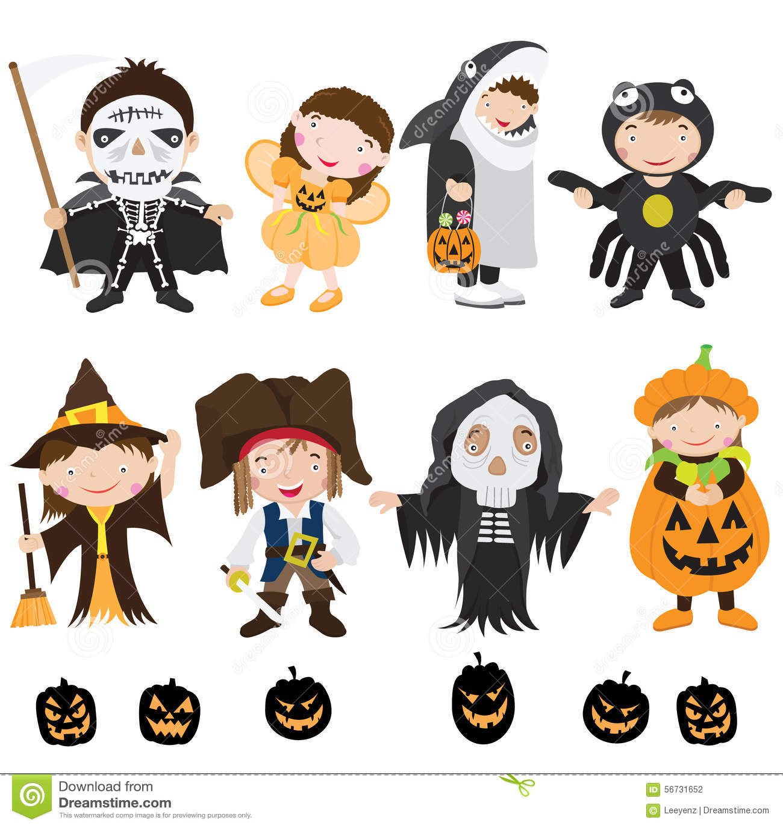 Cute Halloween Characters Costume Vector