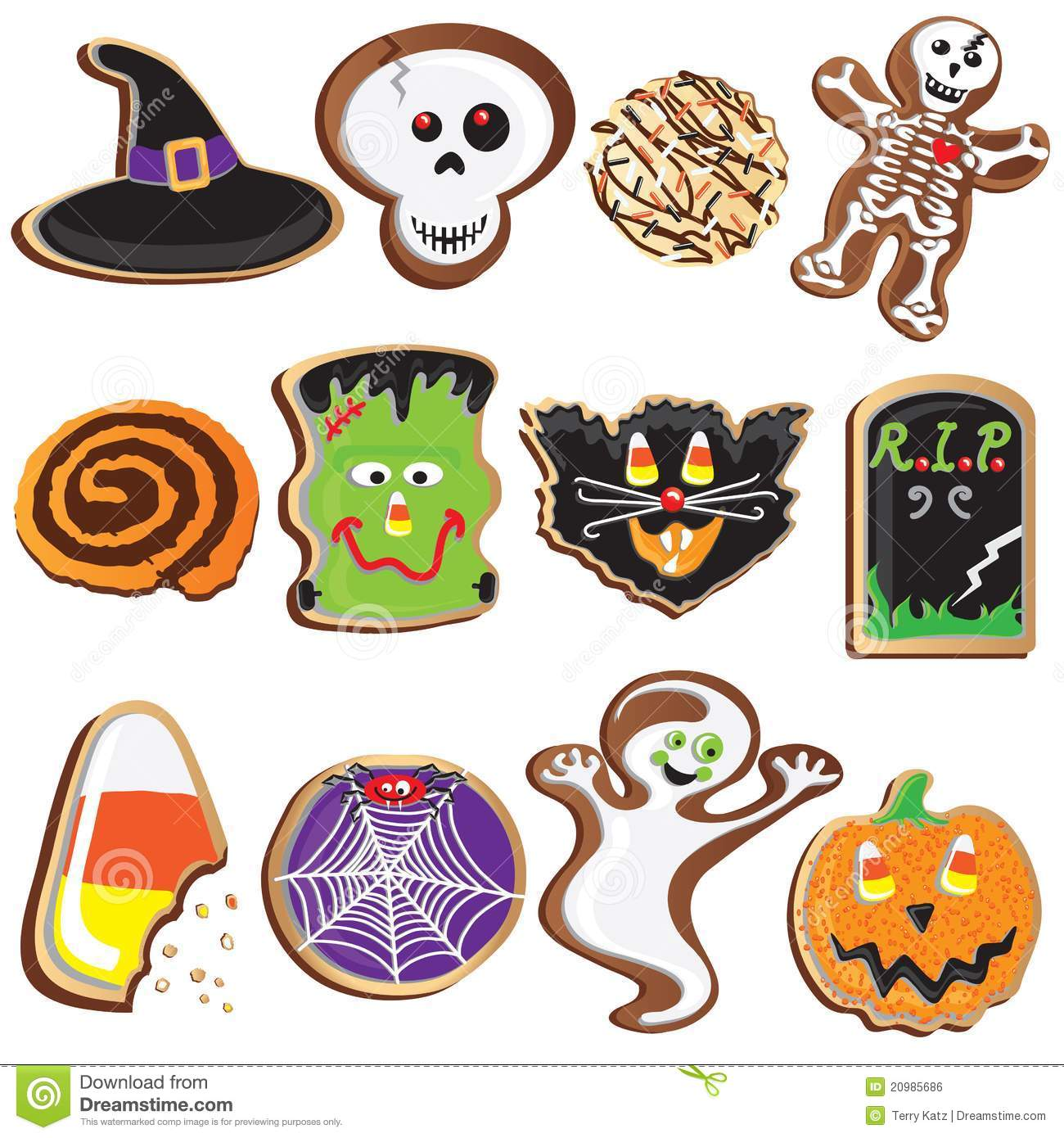 photo about Free Printable Halloween Clipart called Lovable Halloween Cookies Clipart Inventory Vector - Example