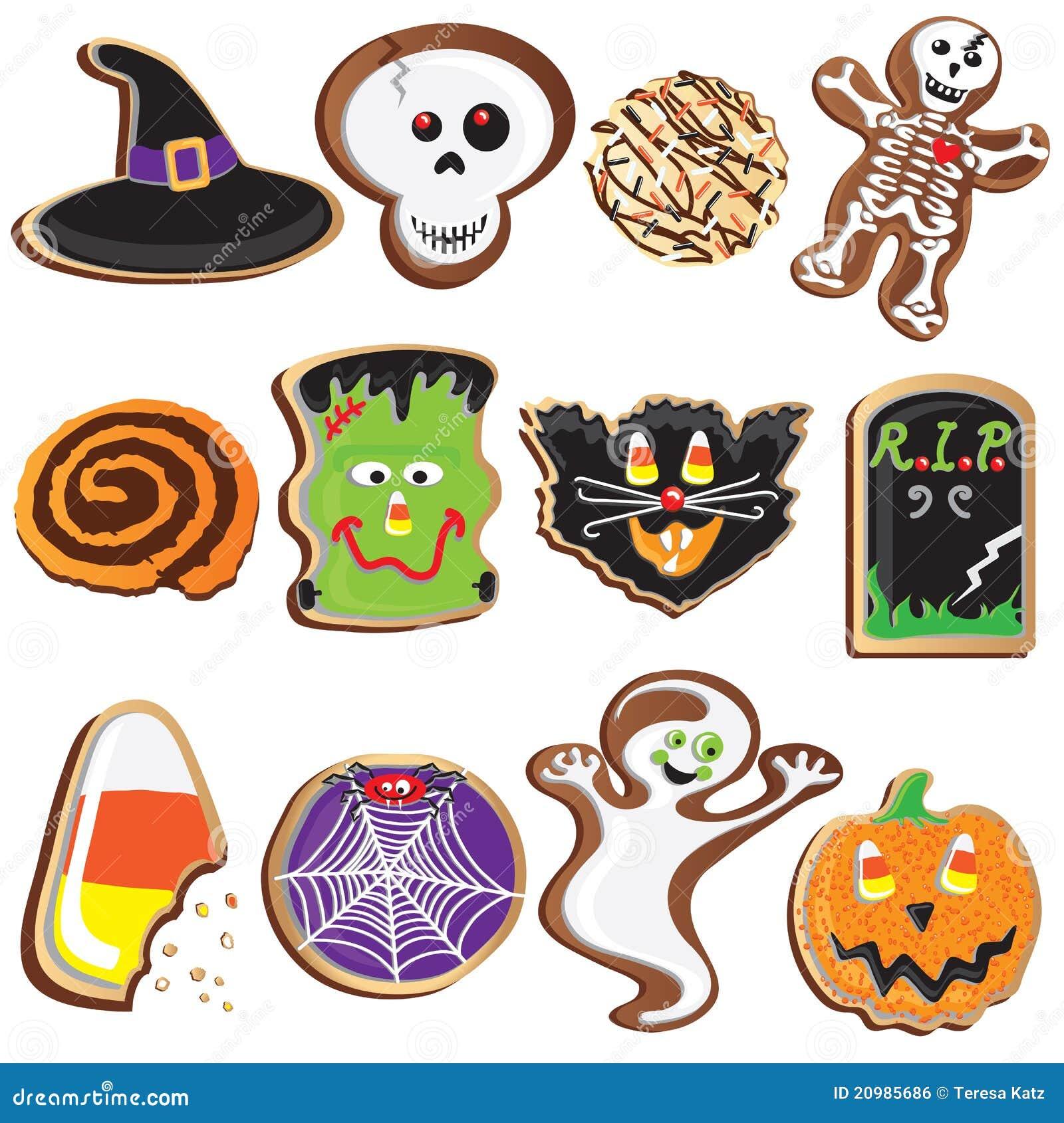 Cute Halloween Cookies Clipart Stock Vector - Illustration: 20985686