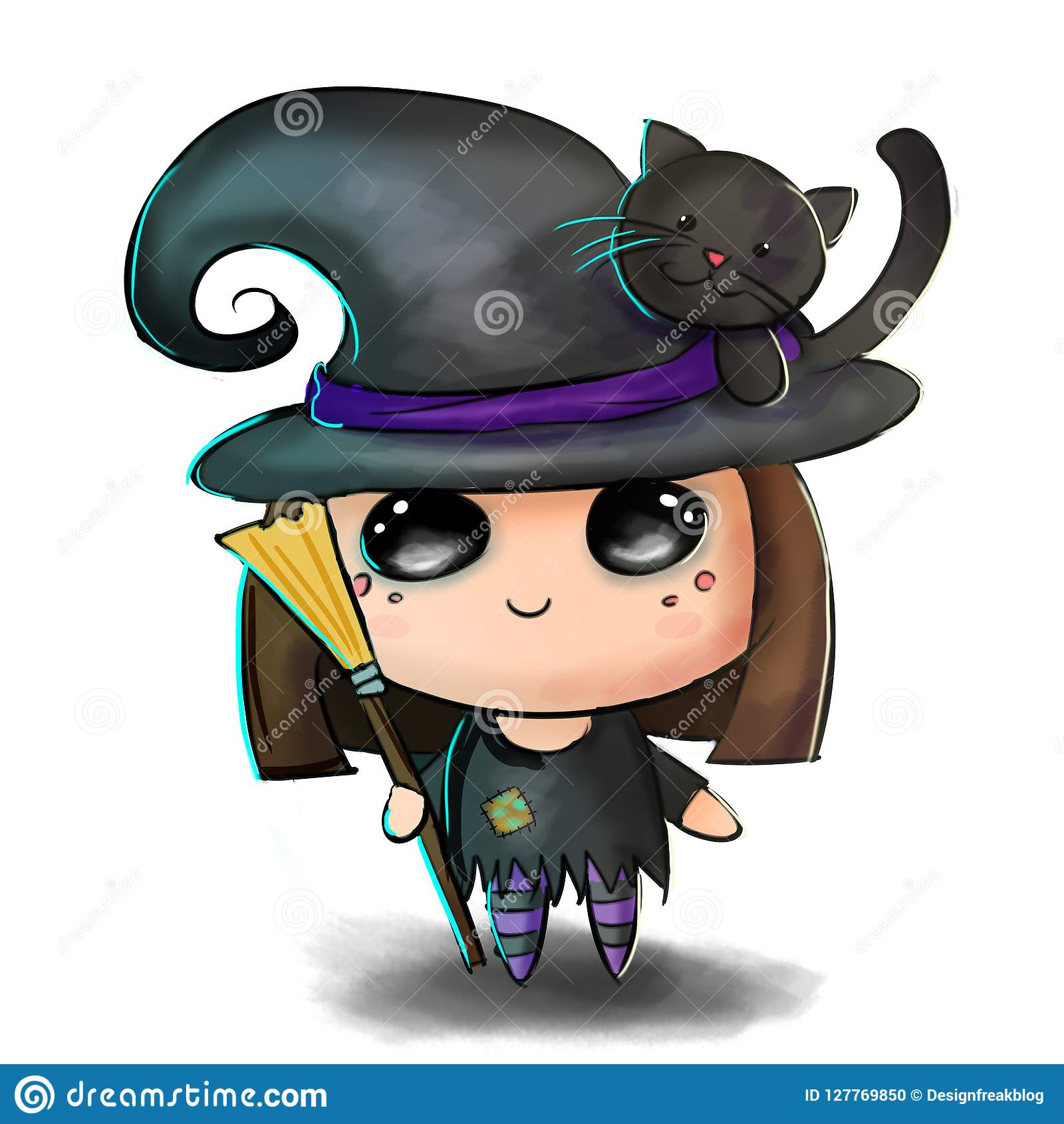 cute halloween illustration. little child in spooky witch costume