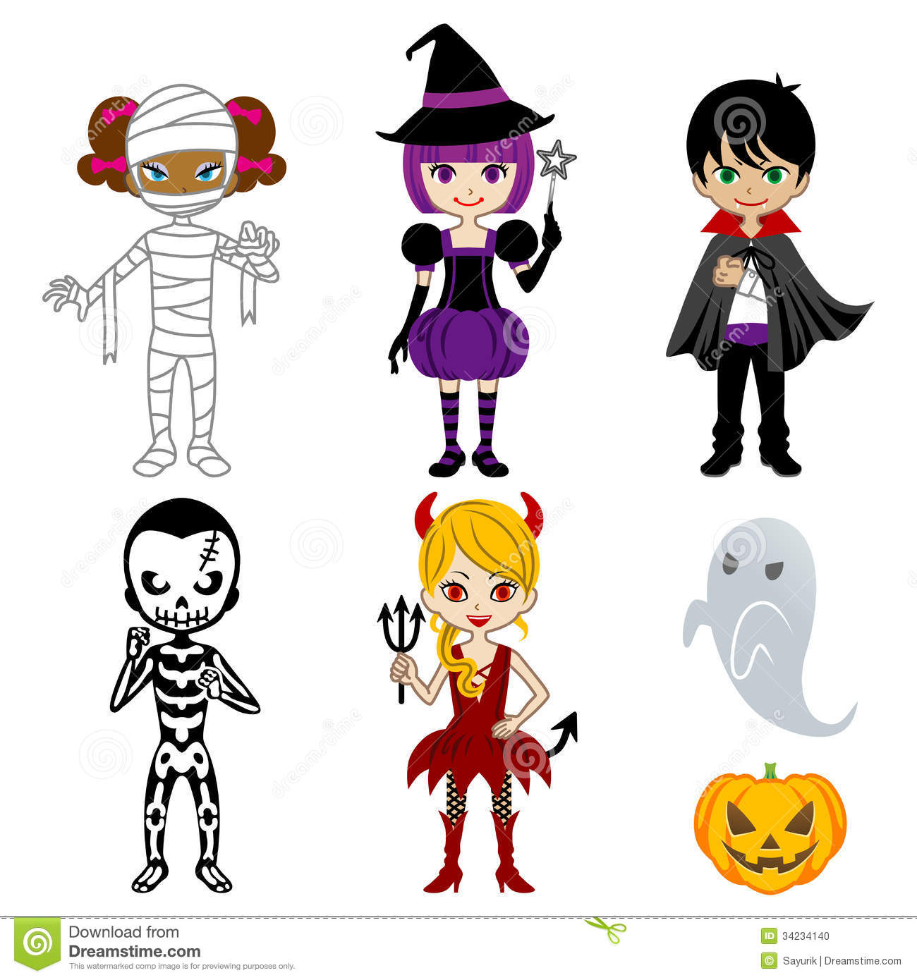 cute halloween monstersisolated