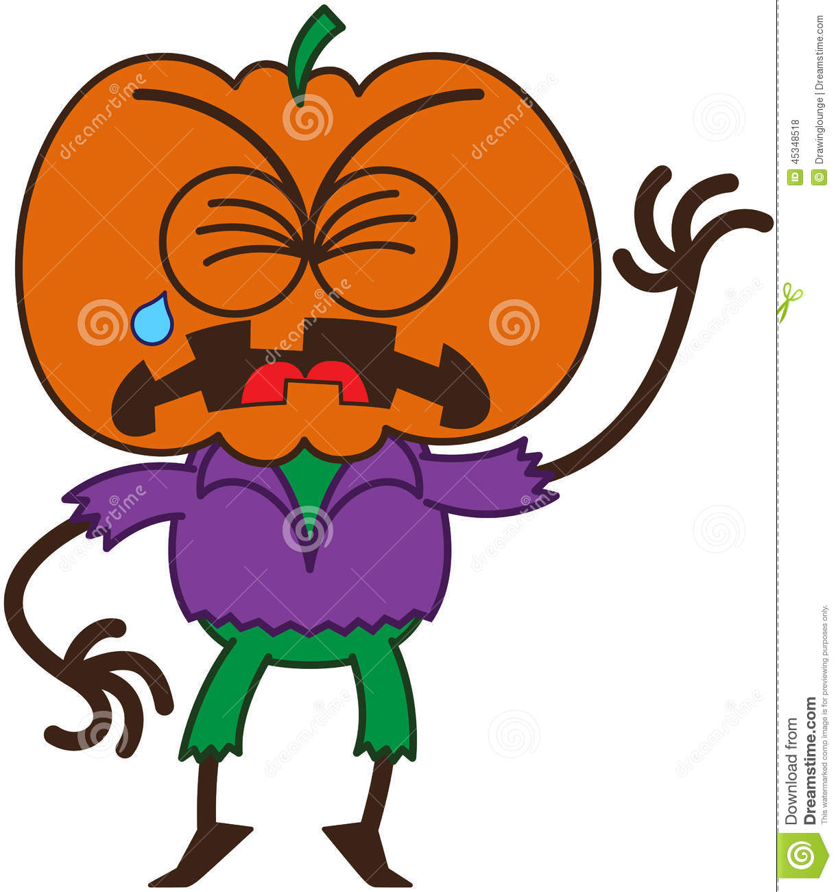 Cute Halloween Scarecrow Crying And Sobbing Stock Vector ...