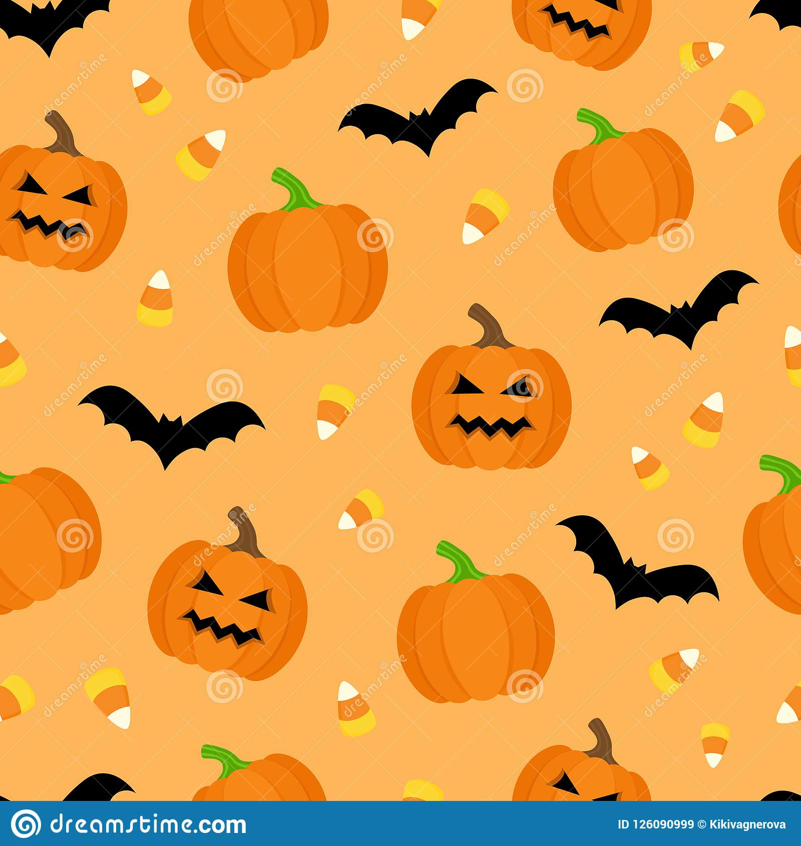 Cute Pictures Of Halloween.Cute Halloween Vector Seamless Pattern Stock Vector Illustration Of Pumpkin Funny 126090999