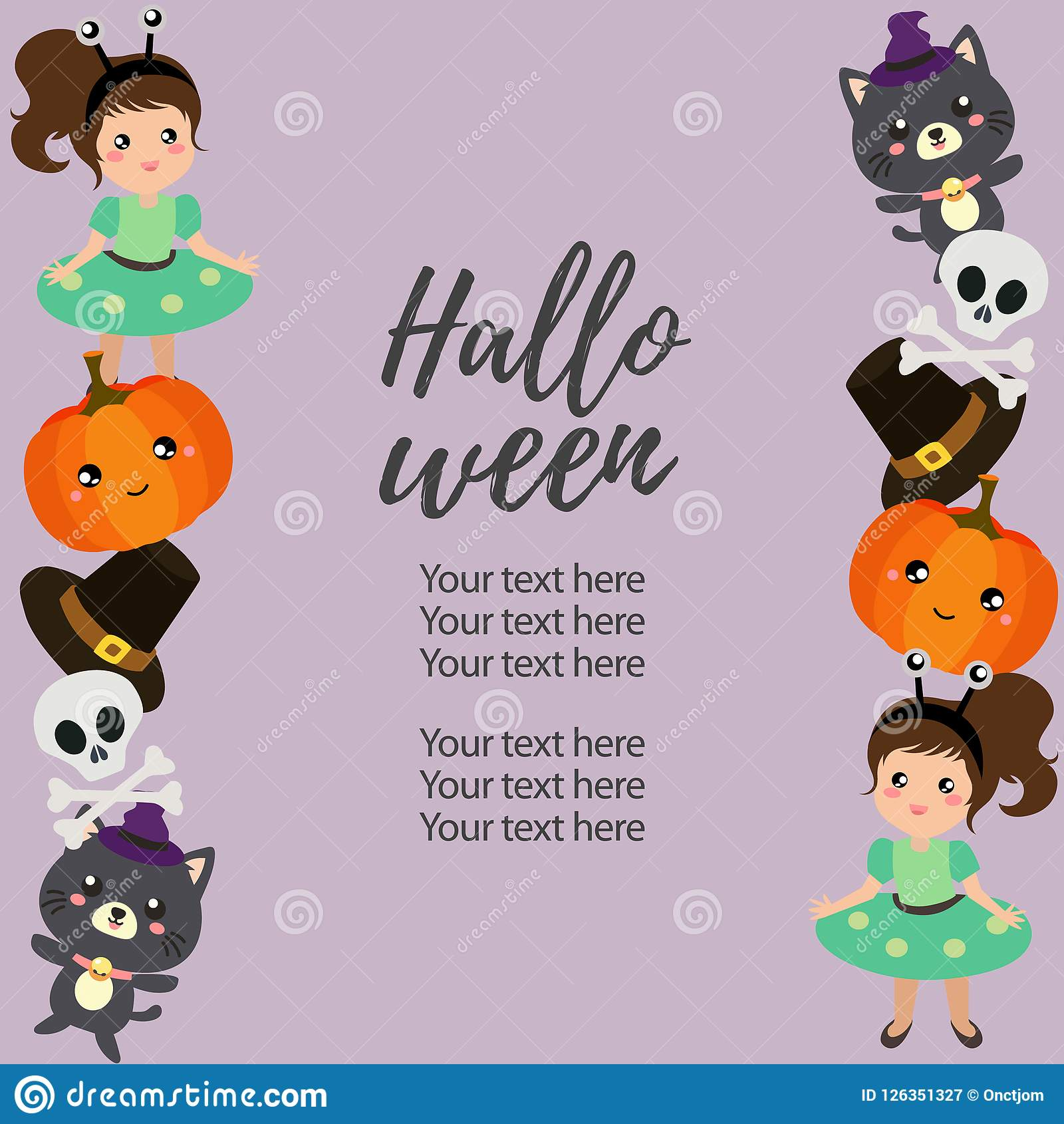 Cute Halloween Vertical Border Template With Alien Costume Stock
