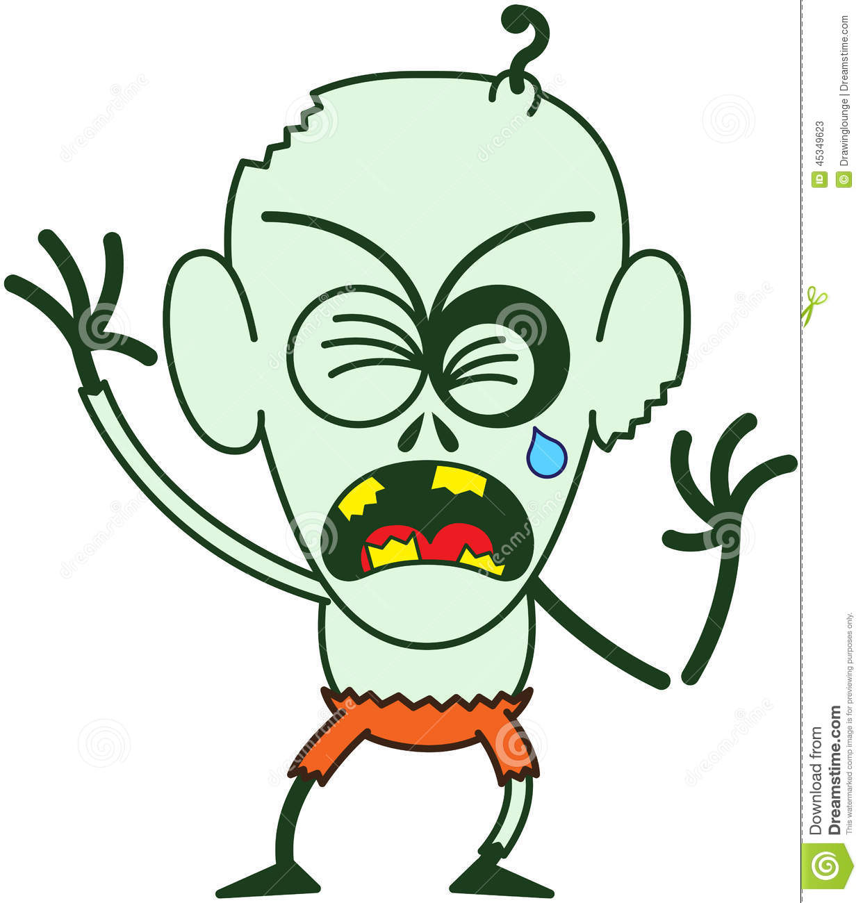 Cute Halloween Zombie Crying When Feeling Distressed Stock Vector ...