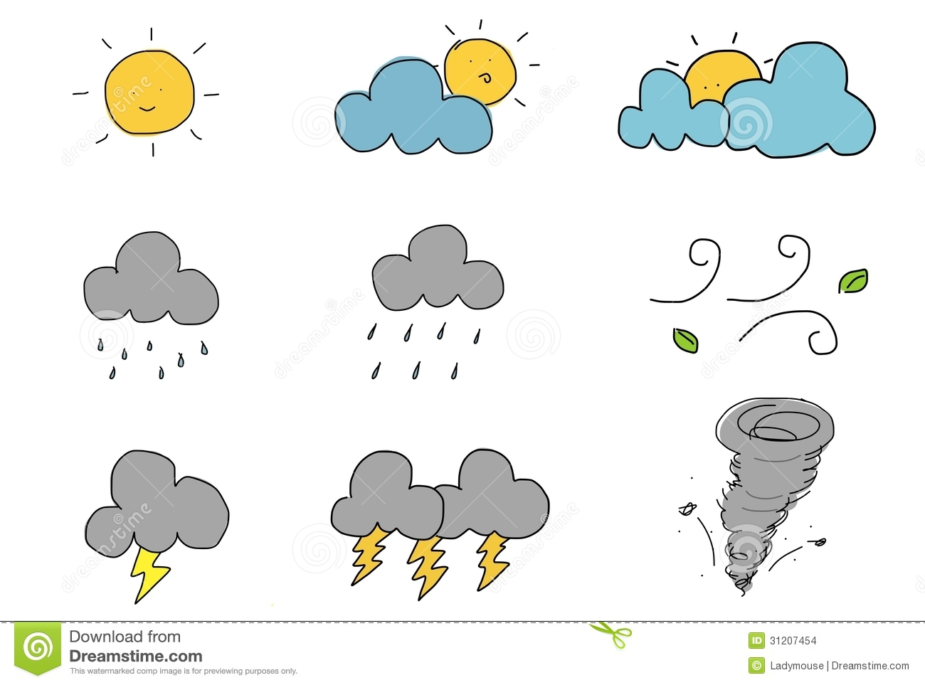Cute Hand Draw Weather Icon Stock Images Image 31207454