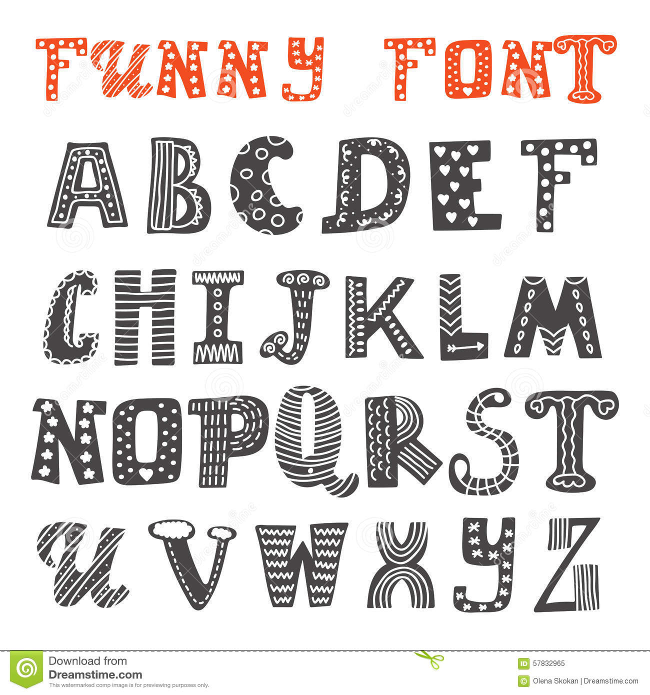 Cute Hand Drawing Alphabet Funny Font Stock Vector Illustration