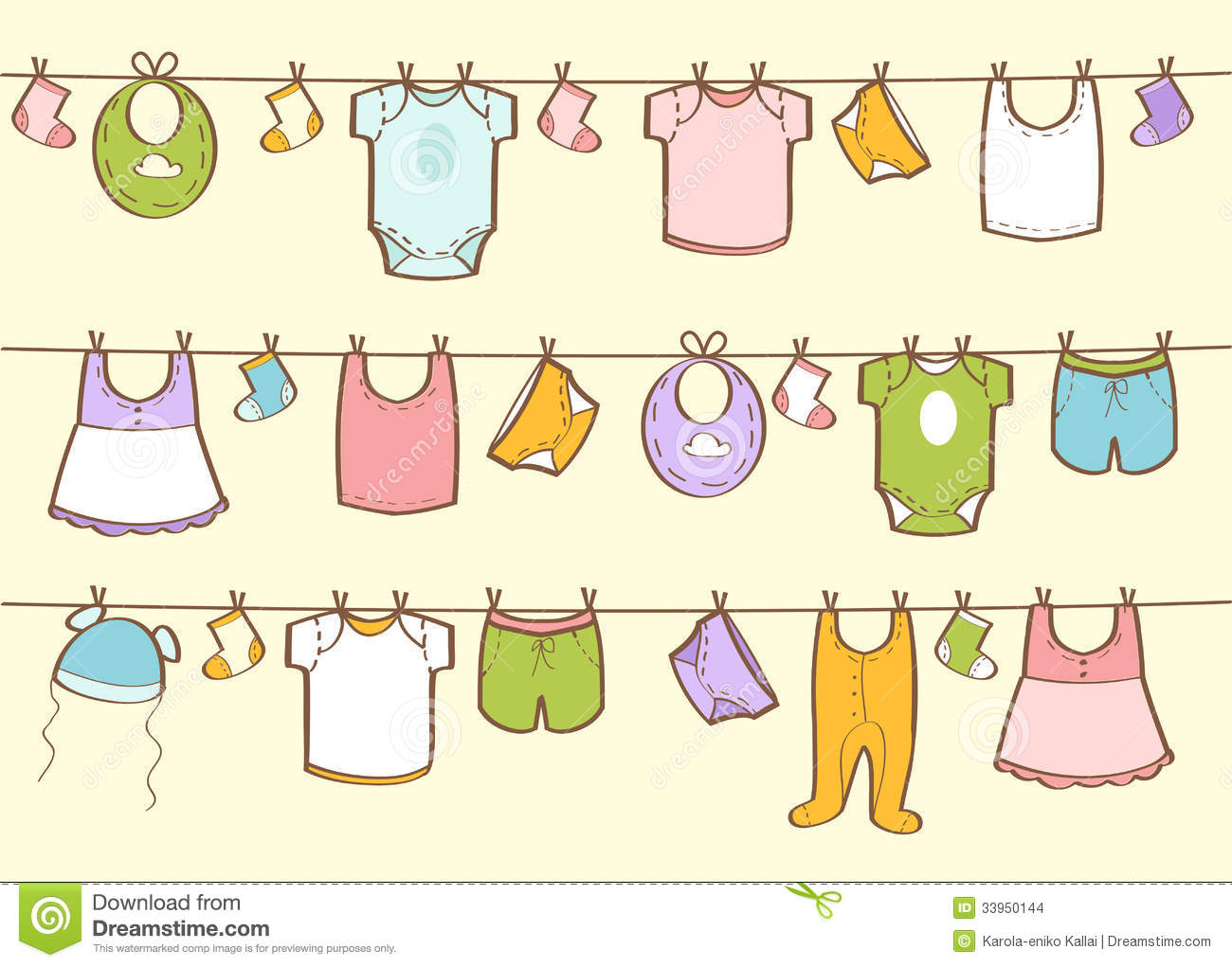 43bd38819 Cute Hand Drawn Baby Clothes Stock Illustration - Illustration of ...